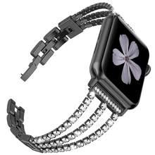 JANSIN Новый женский бриллиантовый ремешок для часов Apple Watch 38 мм 42 мм 40 мм 44 мм iWatch серия 5 4 3 ремешок из нержавеющей стали спортивный браслет(Китай)