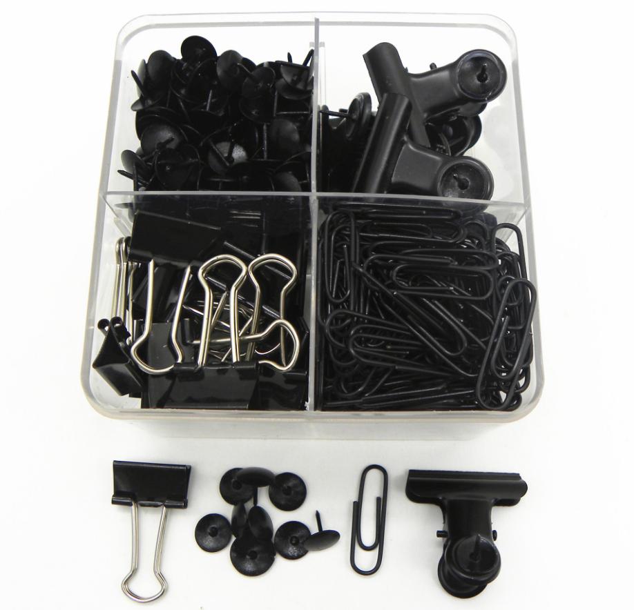 Оптовая продажа, наборы мини-канцелярских принадлежностей с черными зажимами для больших пальцев, зажимы для бумаги, канцелярские принадлежности для офиса