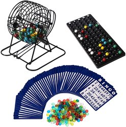JACO Deluxe Bingo Game Set Portable 6 in Metal Cage Complete Kit with Instructions Calling Board 75 Colored Balls300 Bingo Ch