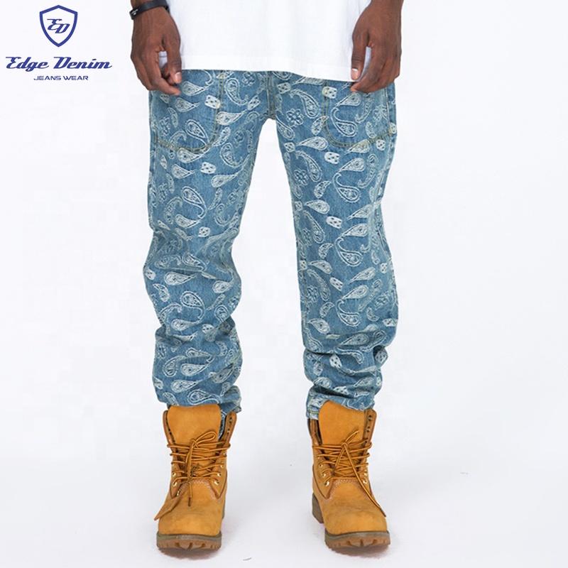 OEM trouser strechy hand art light stonewash laser printed loose fit men fashion jeans