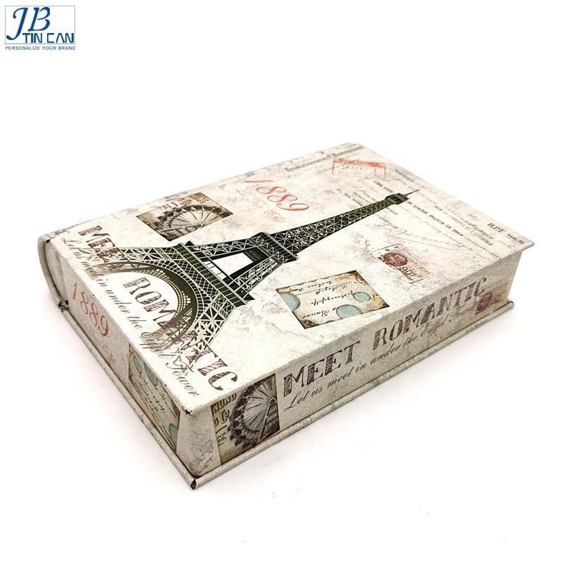 Vintage Christmas book shape tin can packaging book shape tin box for tea