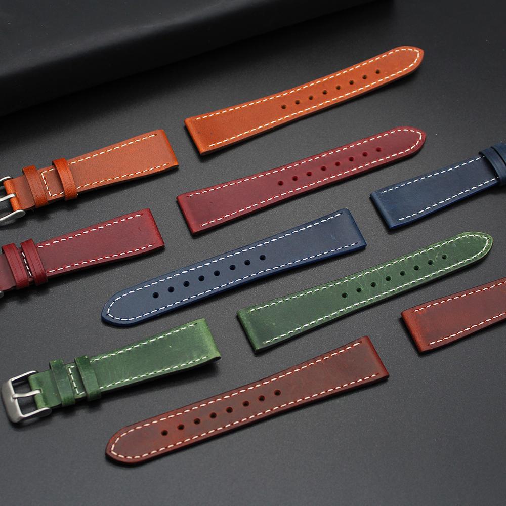 Конический винтажный ремешок для наручных часов, высококачественный браслет из телячьей кожи, 20 мм 22 мм