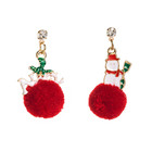 Alloy Earrings Alloyalloy Christmas2020 Christmas Series Alloy Drip Oil Santa Hair Ball Earrings Ins