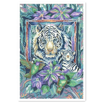 DPD063 Tiger mom and child cross stitch kit package aida 18ct 14ct 11ct white cloth unprint canvas embroidery DIY handmade