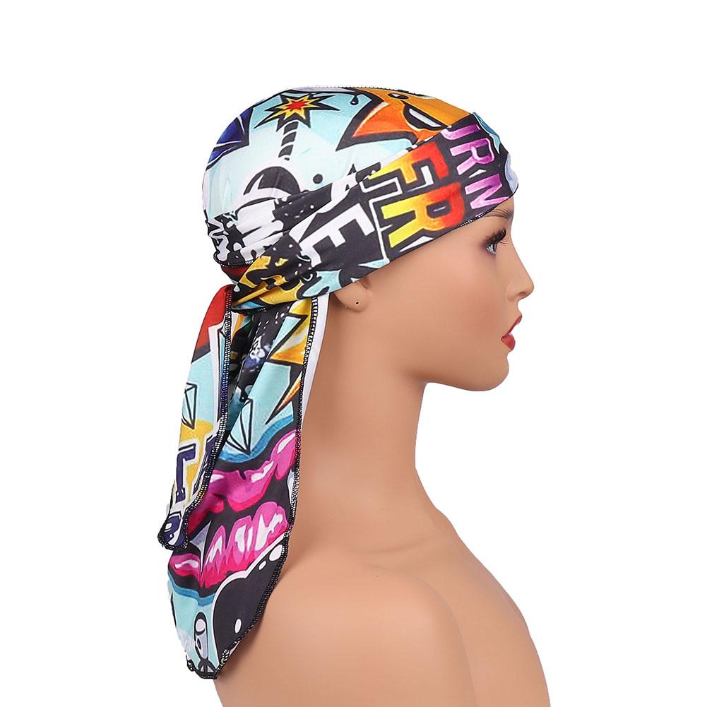 Wholesale External Stitch Unisex Custom Printing Pirate Hat 360 Wave Cartoon Luxury Long Straps Milk Silk Durags For Men
