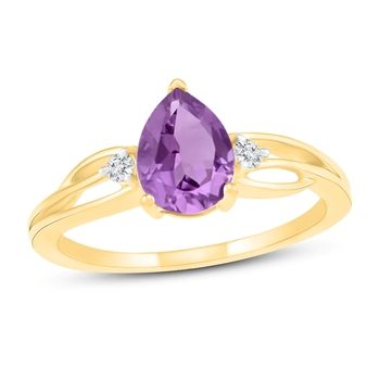 14K Yellow Gold Plated 925 Sterling Silver Jewlery Birthstone Women Engagement Pear Cut Ring Natural Amethyst Ring