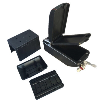 Black Car Multi Universal Car Center Armrest Console Boxes With USB LED Light