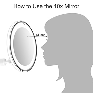10xmagnifying макияж зеркало Регулируемая Гибкая гусиная шея светодиодный свет ванная комната косметическое зеркало с присоской 360 градусов Поворот