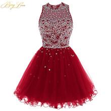 Роскошное платье с бусинами для выпускного вечера, модель 2020 года, ярко-синее мини-платье из тюля с блестками, короткое платье для выпускног...(China)