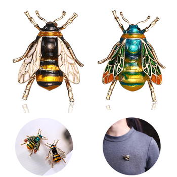 Vintage Bee Brooch Corsage Enamel Pins For Women's Accessories Antique Wing Insect Badges Animal Icons Brooches
