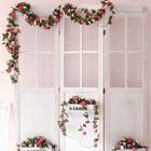 Decor 245cm Artificial Flower Wholesale Artificial Rose Garland With 45 Silk Rose For Wedding And Home Decor