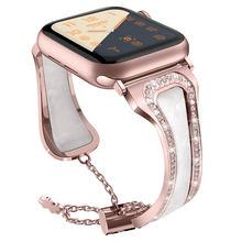 Алмазный ремешок для часов apple watch 38 42 40 44 мм iWatch 5 4 ремешок для женщин из нержавеющей стали apple watch Series 3 2 браслет(Китай)