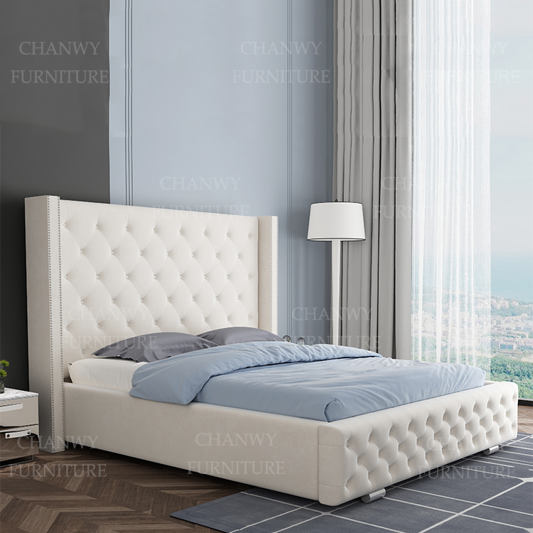 hot sale new model king queen double size Premium plush velvet bed frame with high headboards