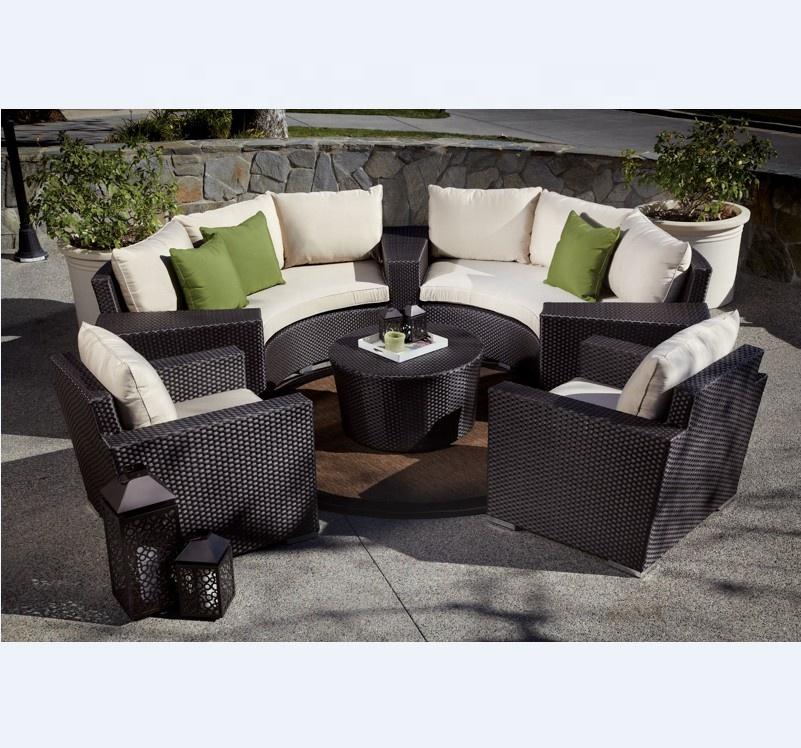 Подержанный садовый ротанговый уличный изогнутый диван, набор мебели, распродажа