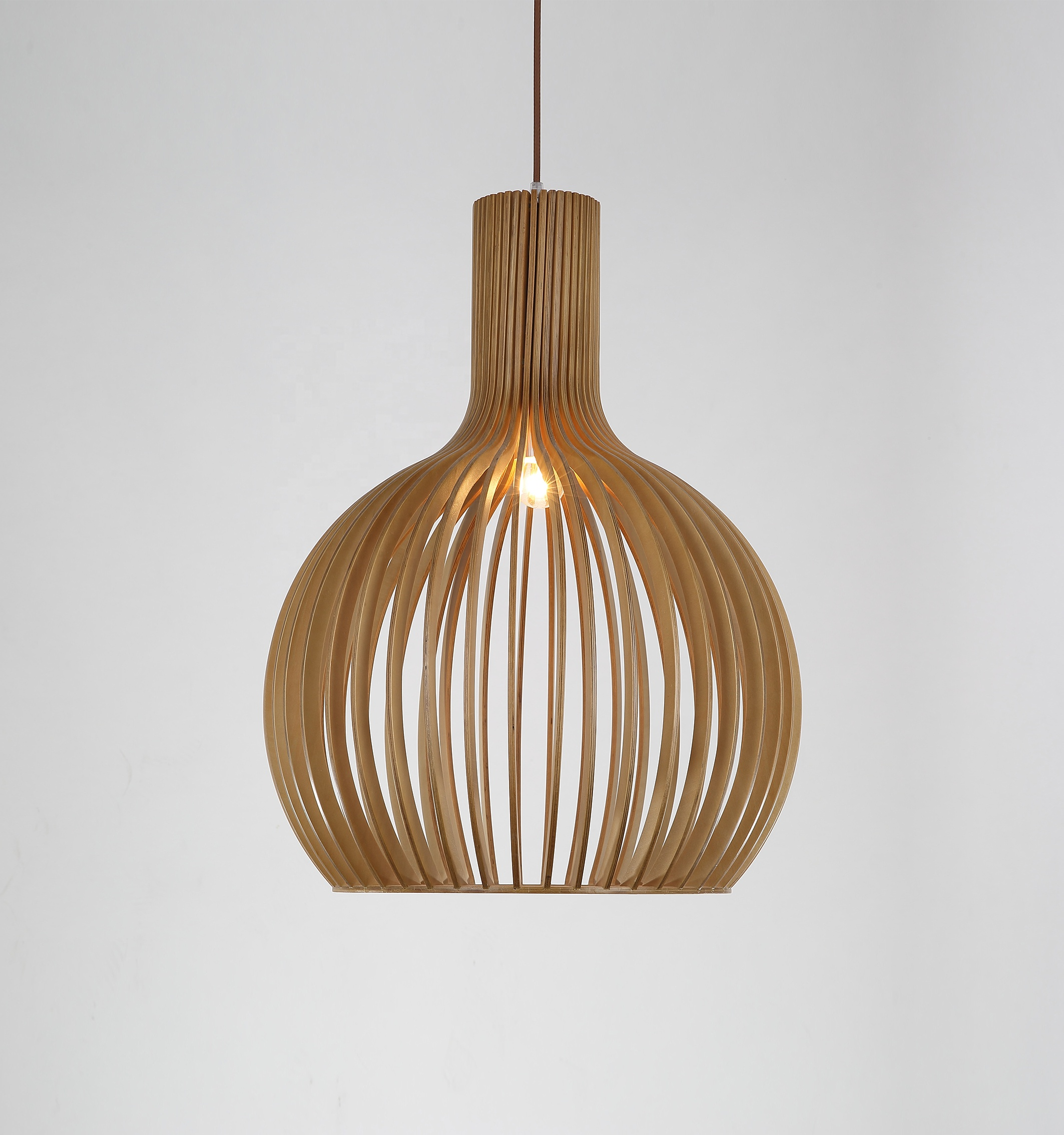 Handmade wooden pendant lamp.