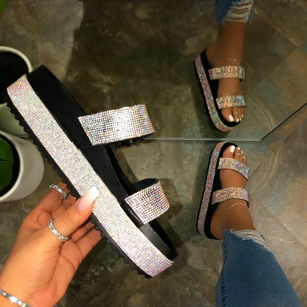 PDEP популярные модные летние тапочки для женщин обувь на платформе с открытым носком красивые Стразы дешевые женские сандалии на плоской подошве