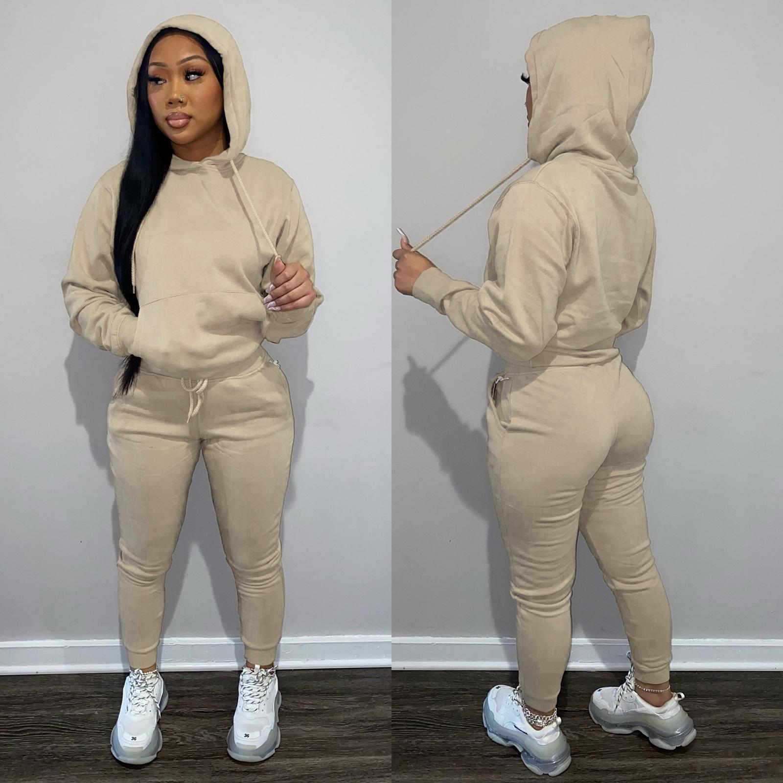 Fall 2021 Women Clothes zipper Hoodie Set 2 Piece Set Hoodies Joggers Long Sleeve Sweatsuit Tracksuit Two Piece Jogger Set