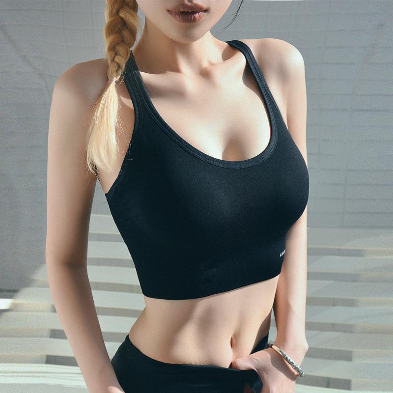 Спортивный бюстгальтер, женский жилет, стильный однотонный влагоотводящий фитнес ударопрочный спортивный бюстгальтер для йоги, топы
