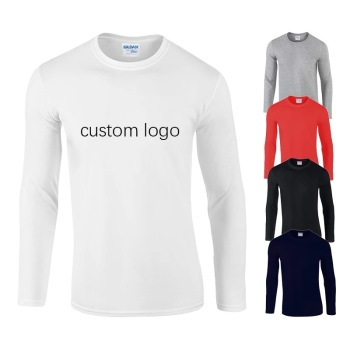 Custom Print OEM basic plain blank pink white simple unisex men's women full arm hand long sleeve t shirt for men