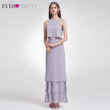 Элегантное двухкомпонентное платье подружки невесты EP07173, повседневное шифоновое платье с оборками и круглым вырезом для свадебной вечери...(Китай)