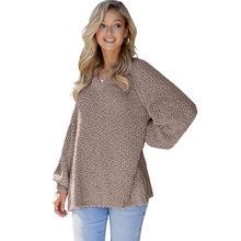 SEBOWEL, повседневный Однотонный женский свитер, v-образный вырез, длинный рукав, вязаный свитер, Женский Теплый осенне-зимний топ, одежда(Китай)