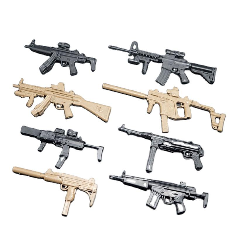 8Pcs//set 1:6 Toy Gun Models Mp5//UZI//VECTOR Puzzle Assemble Weapon+Display Wall