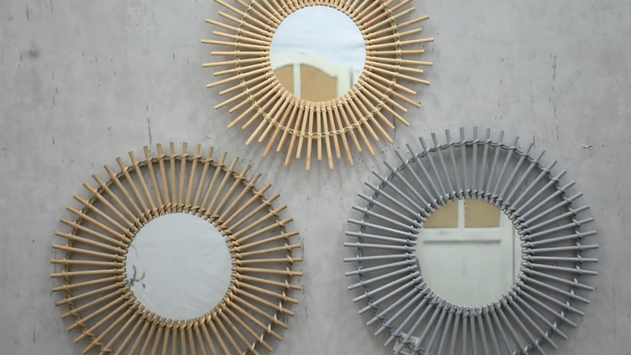 Luckywind Handmade Bamboo Weaving Rattan Makeup Mirror, Retro Bamboo Decorative Wall Mirror