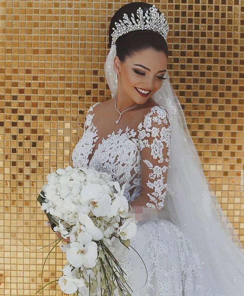 2021 Newly Customize Plus Size Church Mermaid Wedding Gowns illusion lace long sleeves Bridal Dress