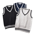 ODM OEM College British style V-neck men and women twist color JK school uniform 100%cotton cos sleeveless vest sweater