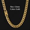 12mm Gold Fold Clasp Cuban Chain