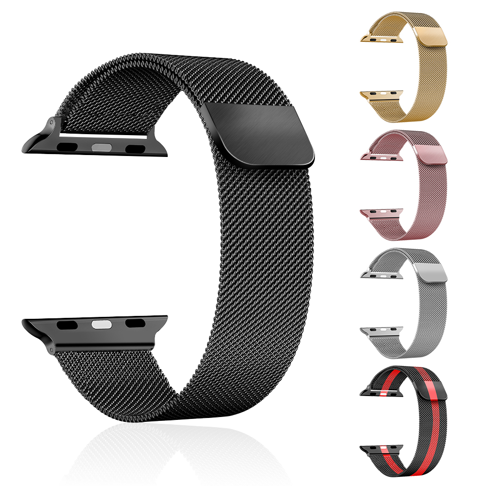 Keepwin Stainless Steel Apple Watch Band Magnetic Strap Series 6 5 4 3 2 1 Milanese Metal Apple Watch Band