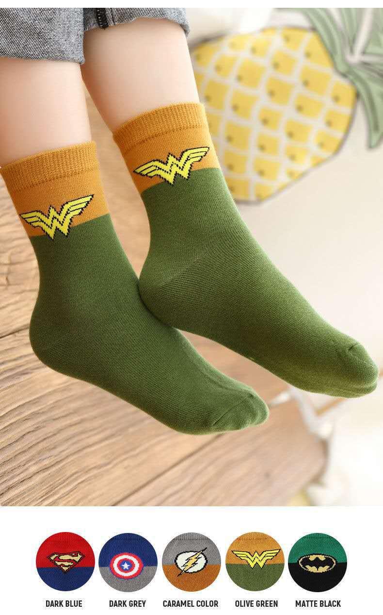 high quality student boys Cotton sport socks Superhero children socks logo socks custom SpiderMan US Captain