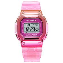 SYNOKE женские часы со светодиодной подсветкой модные цифровые женские и мужские цветные спортивные новые унисекс наручные часы с будильнико...(China)