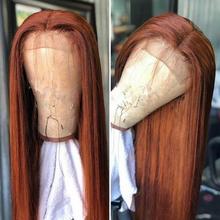 Коричневый Auburn 13х4 парики из человеческих волос на фронте шнурка бразильские прямые волосы с детскими волосами Remy парики шнурка для черных ...(Китай)