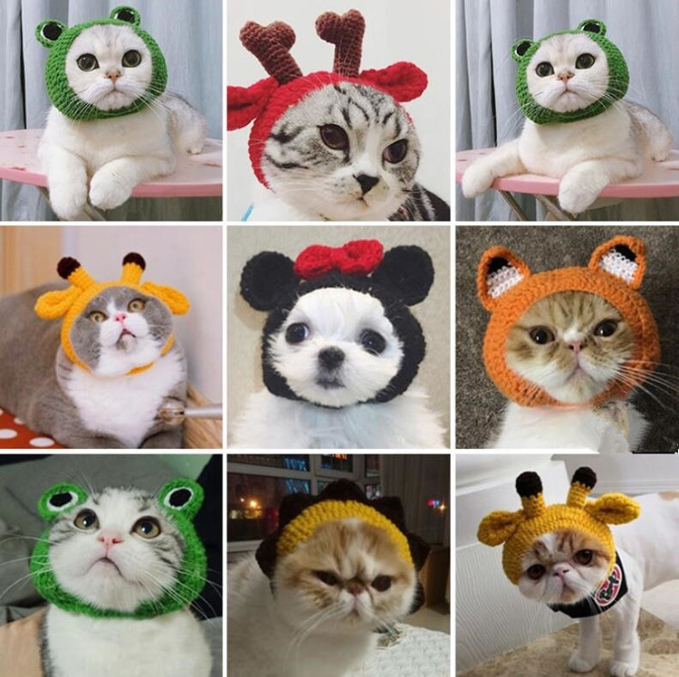 The Frog Shape Fashion Cotton Cap Pet Hat for Cat and Dog Handmade Crochet Pet Hats