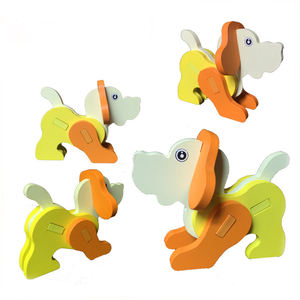 Factory Supply Children Cartoon Animals Educational Model Toys Assemble Puzzle 3D Wood