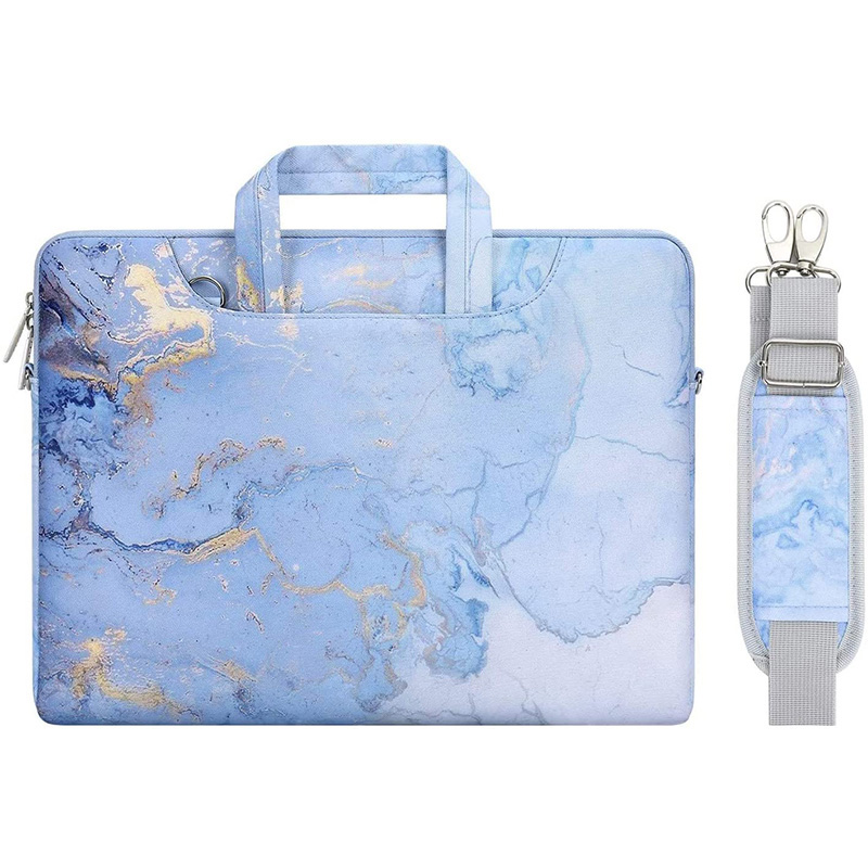 Portable office Watercolor Marble computer Sleeve Case Notebook Carrying Briefcase Laptop bag women ladies