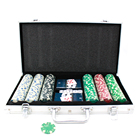 custom 300 pieces casino poker chips 2 playing cards 5 dice case set
