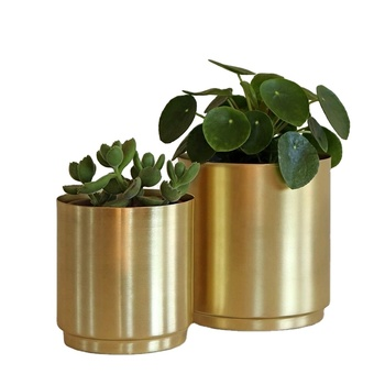 brass Metal Planter flower pot (Diameter 110 * height 130 mm) - Large Indoor Plant Pot For Indoor Plants and House Plants (Gold)