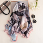 Wholesale 2020 new arrival satin silk scarf blue fashion gradient triangle pattern printed lady thick silk scarf