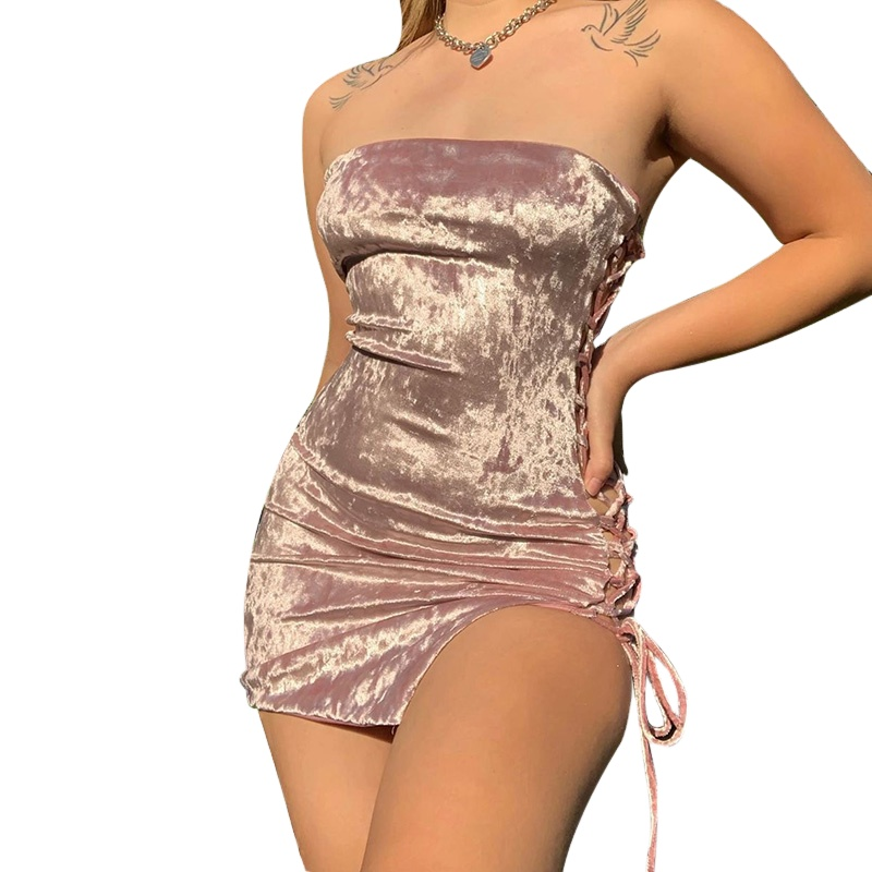 2021 fashion new women dresses side open line tight flexible dress