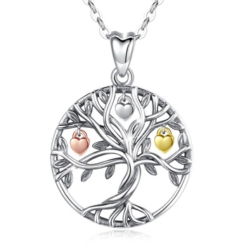 925 Sterling Silver Women Fruit of Life Family Tree of my life Charms Pendant Necklace