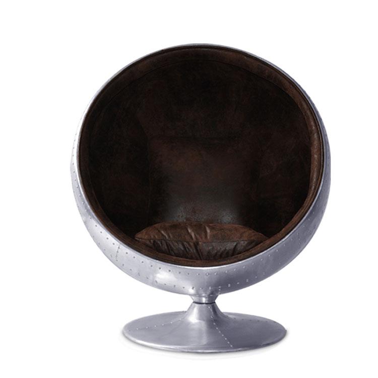 Classic Nordic creative aluminum liudin do old retro  famous teacher design large ball space leisure living room chair