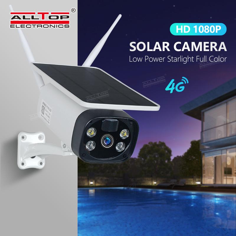 ALLTOP 2021 Водонепроницаемая IP65 солнечная батарея, камера безопасности, беспроводная Солнечная камера PIR GSM LTE 4G