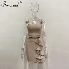 Simenual, блестящие оборки, горячие вечерние комплекты для женщин, сексуальный Модный Шелковый клубный костюм, майка без рукавов и юбка, комплек...(Китай)