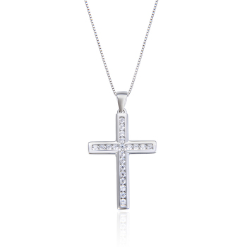 bling sterling silver 925 cross charm diamond cubic zirconia white gold cross pendant necklace cross pendant
