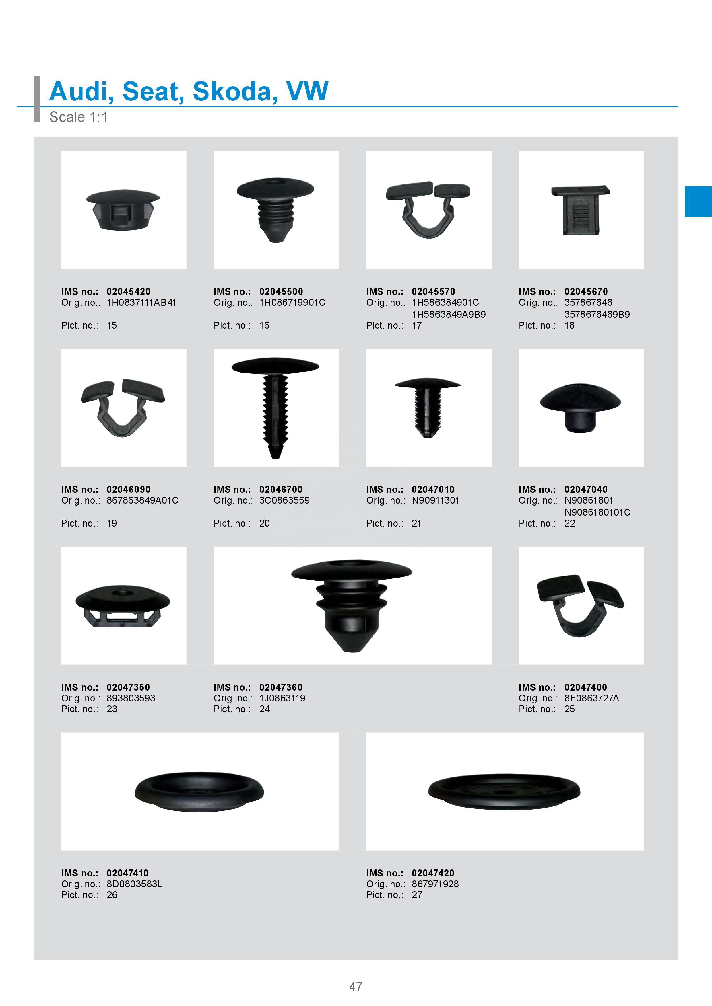 Fastener/clips/plastic screws for VW Golf/Jeeta/Passat/Polo/Scirocco/Sharan/Tiguan/Touareg/Touran/Transporter