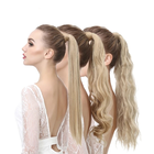 False Ponytail Human Hair Extension Wig Clip Straight deep wave Long Synthetic Wrap Around Pony Tail Blonde wig false hair