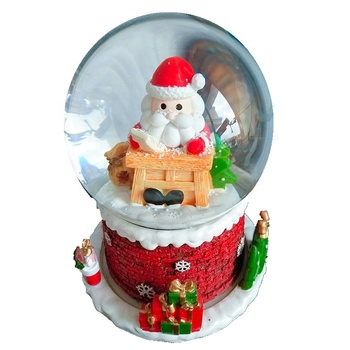 custom design Father Christmas 45mm plastic baby christmas snow globe