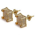 Gold Cz Stud Hip Hop Jewelry Gold Plated Square Micro Pave Iced Out CZ Stud Earrings